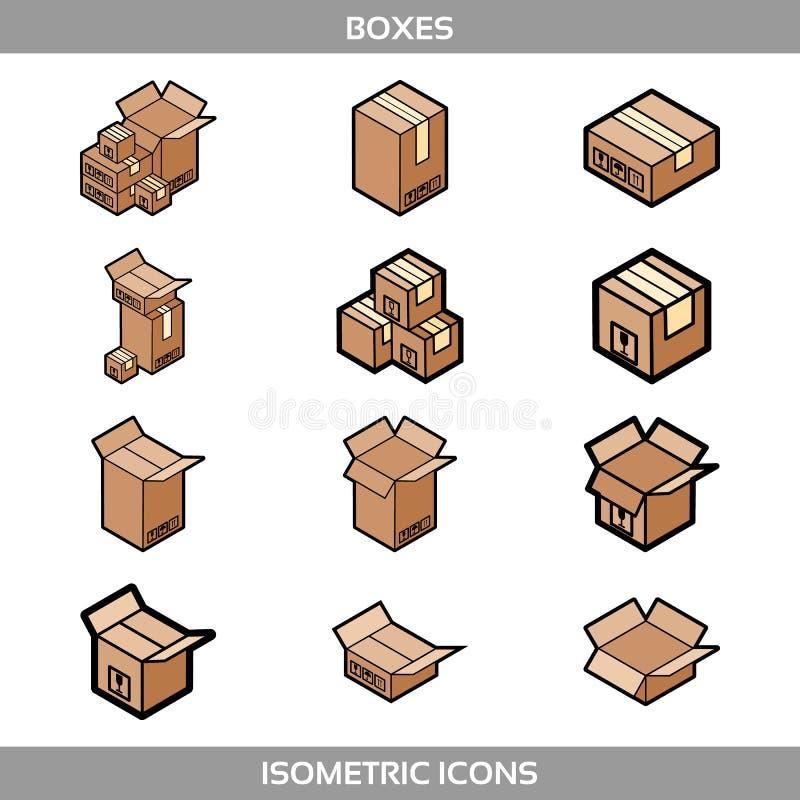等量纸盒包装的箱子在与邮政标志的平的样式设置了易碎的这边 向量例证