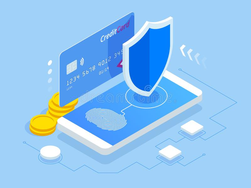 等量网上付款安全系统 智能手机和信用卡 流动数据保密 安全银行交易 向量例证