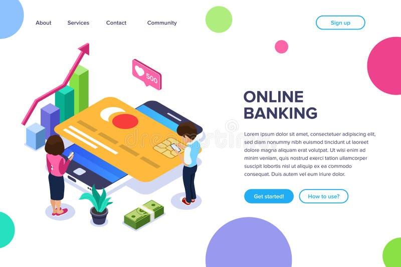 等量网路银行概念 男人和妇女进行金融交易暂停使用一个移动设备通过互联网 库存例证