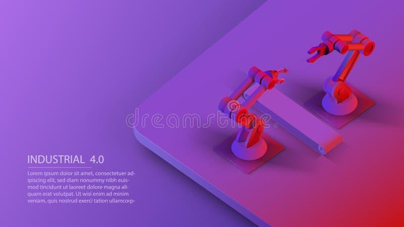 等量自动化的机器人胳膊和传送带 巧妙的自动化的机器人胳膊 在紫外的现代后勤学中心 皇族释放例证