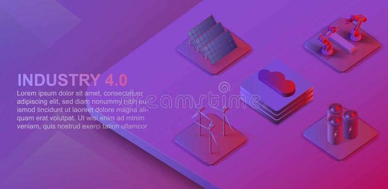 等量自动化的机器人胳膊和传送带 风力场,太阳电池板,覆盖大数据 现代产业4 0等量 皇族释放例证