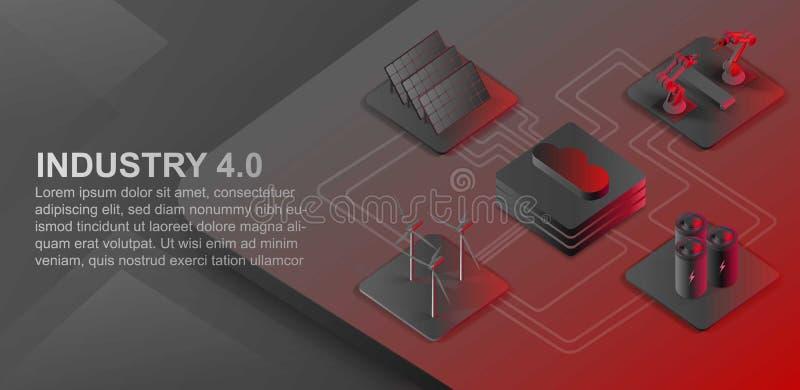 等量自动化的机器人胳膊和传送带 风力场,太阳电池板,覆盖大数据 现代产业4 0等量 向量例证