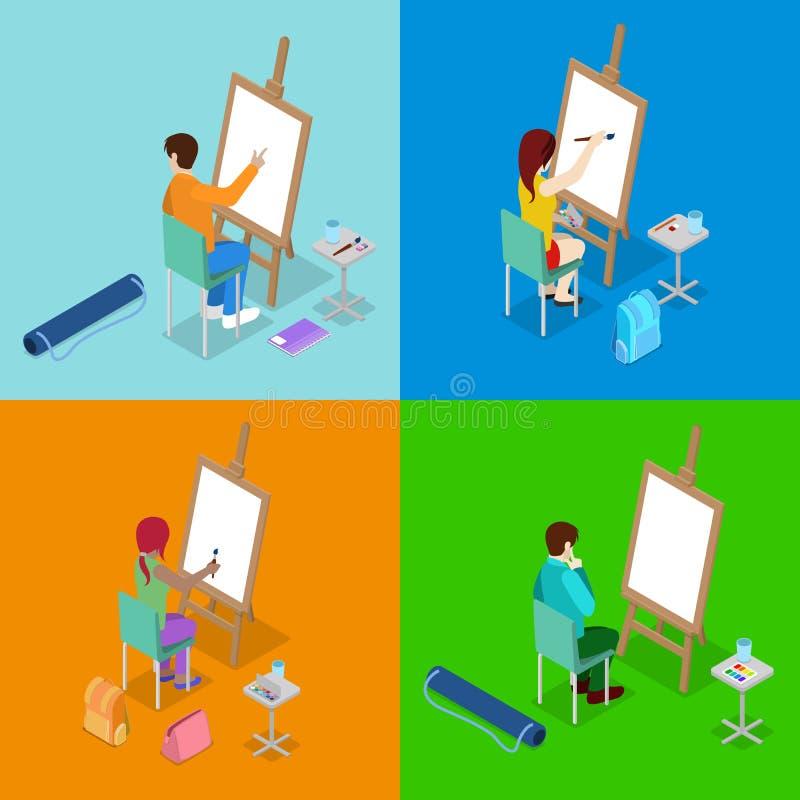 等量艺术概念 与学生画家的类 学会的人们画与油漆和画架 向量例证