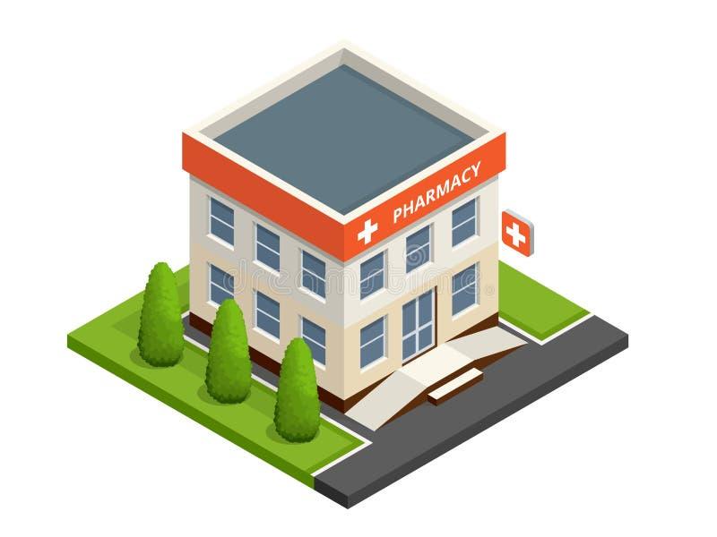 等量药房商店 药房门面在都市空间、药物销售和药片的 向量例证