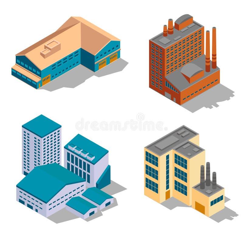 等量被设置的工厂和工厂厂房 库存例证