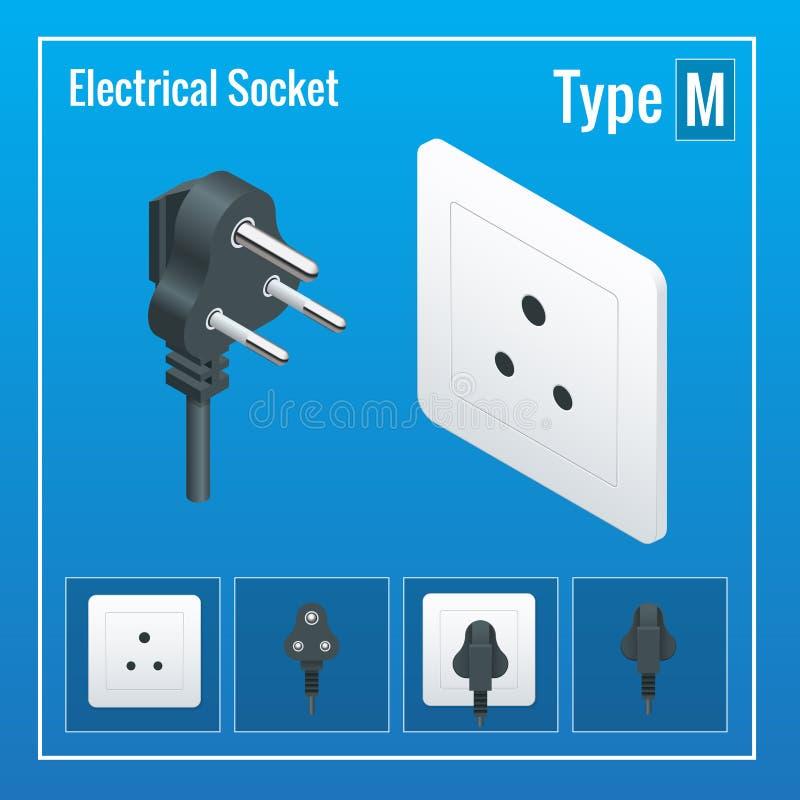 等量被设置的开关和插口 键入M 交流电能插口现实例证 皇族释放例证