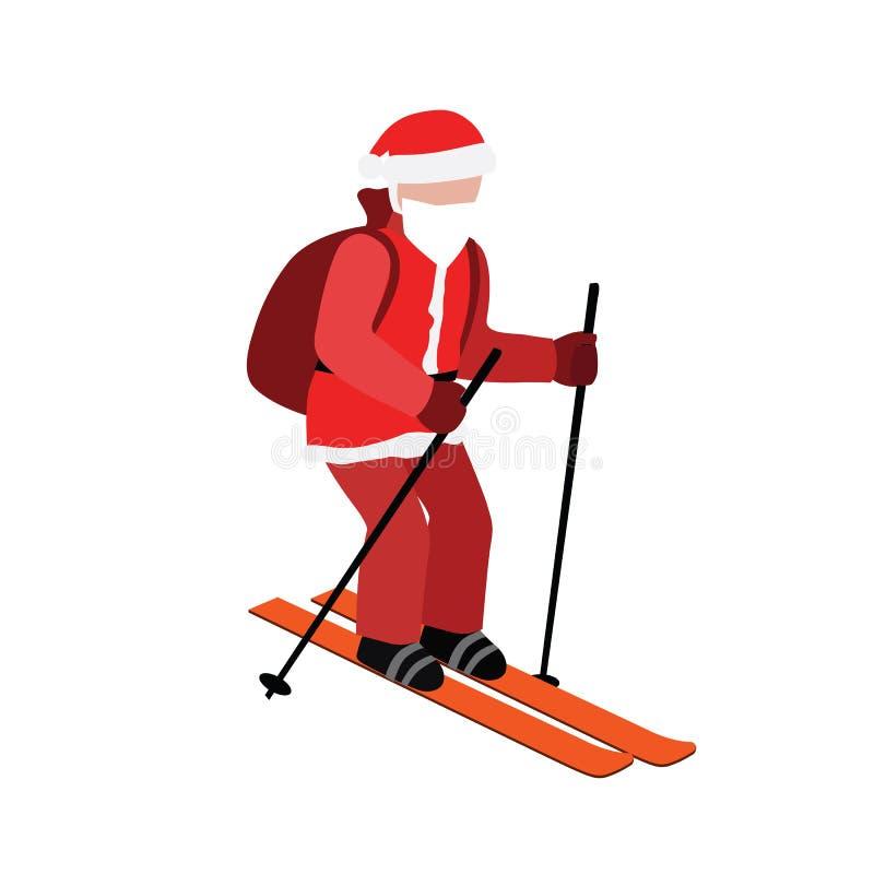 等量被隔绝的圣诞老人滑雪 圣诞节和新年来临 圣诞老人拉扯礼物 越野滑雪,冬天 向量例证
