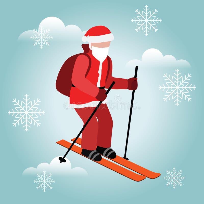 等量被隔绝的圣诞老人滑雪 圣诞节和新年来临 圣诞老人拉扯礼物 越野滑雪,冬天 库存例证