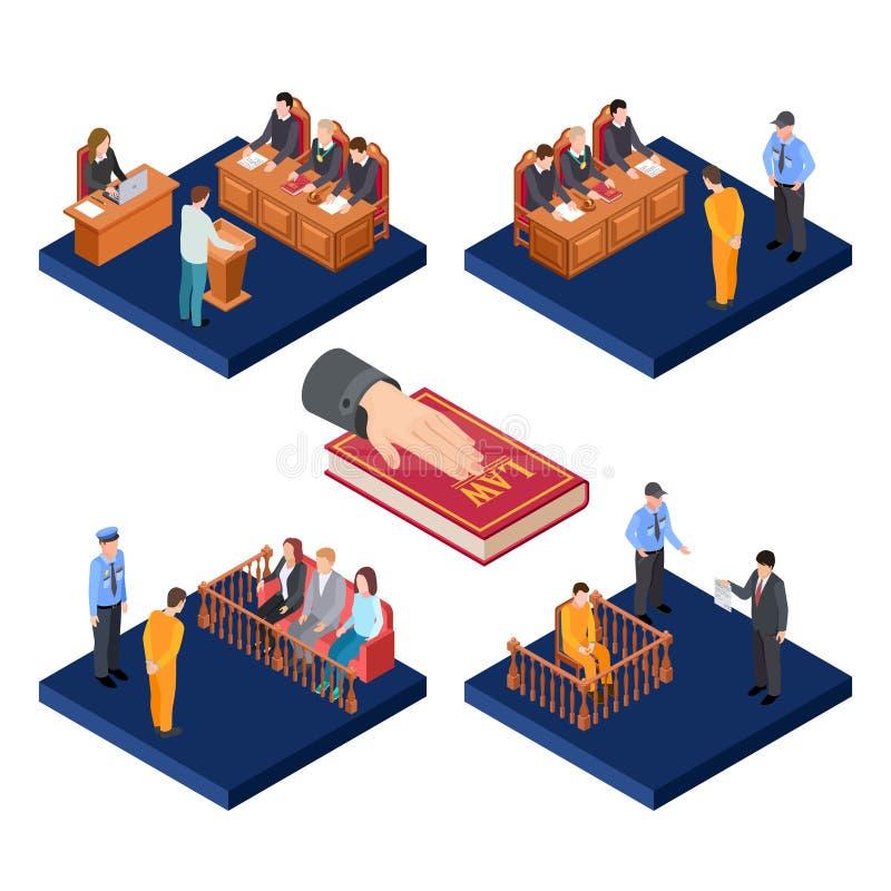 等量试验导航概念 3D与囚犯的法律例证,法官,陪审员 皇族释放例证