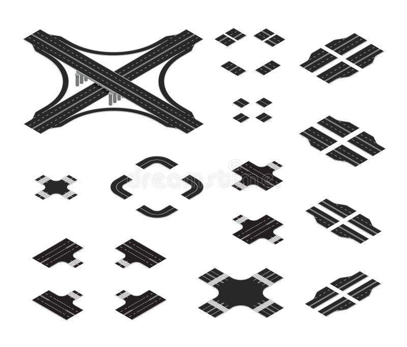 等量路线图成套工具 建筑用不同的标号的路元素 向量例证
