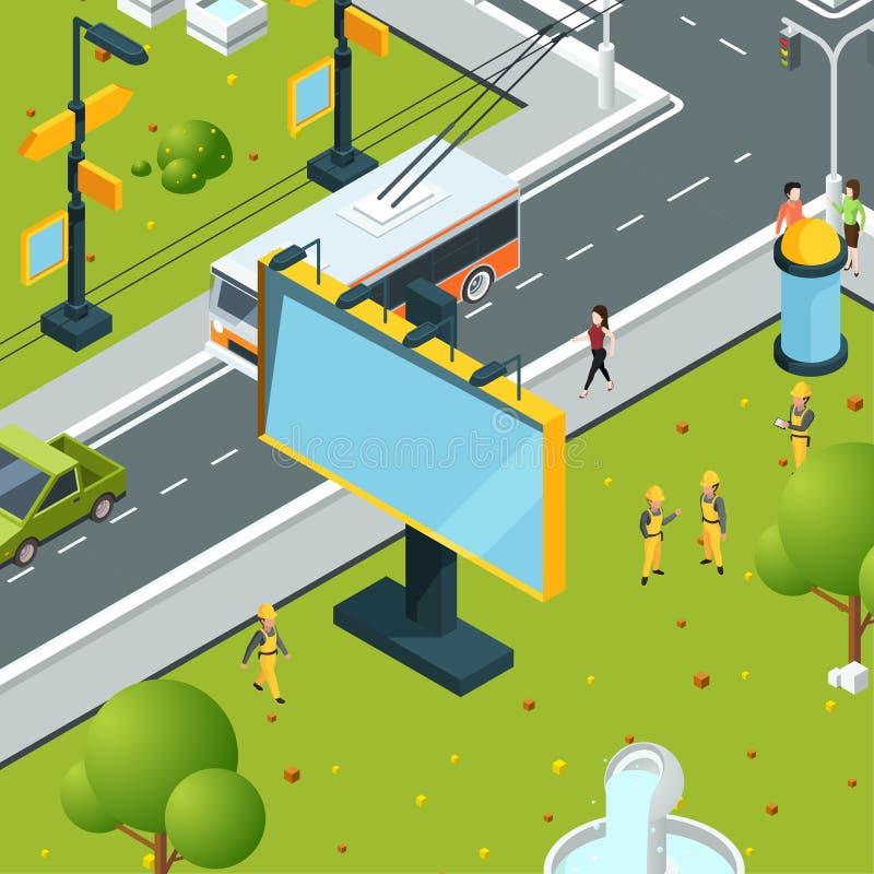 等量都市的广告牌 有空白的地方的镇做广告的委员会的带领了仪表板灯箱子传染媒介街道 向量例证