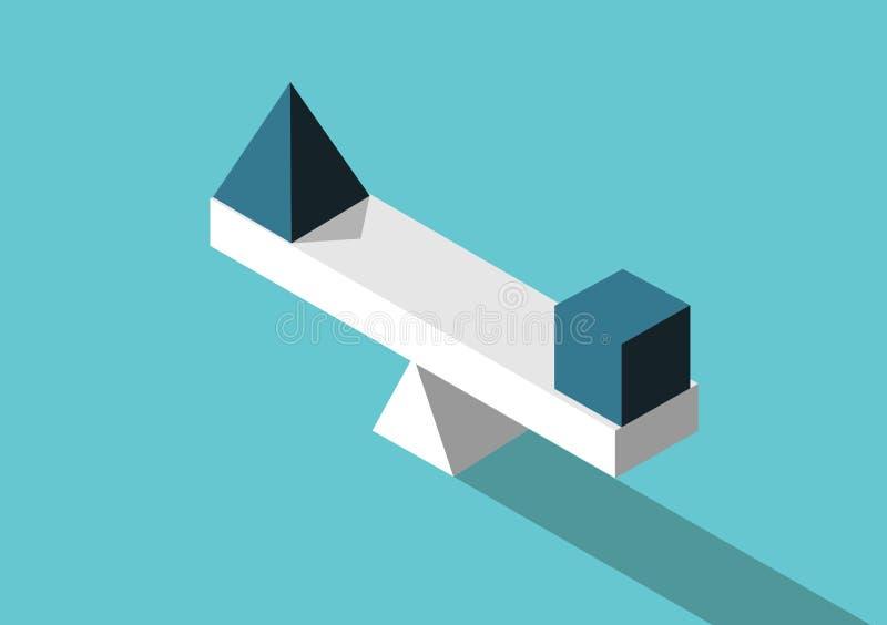 等量金字塔,立方体,平衡 向量例证