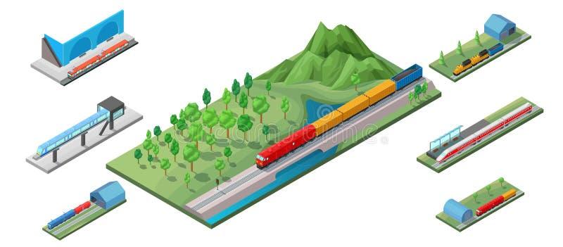 等量铁路运输概念 向量例证