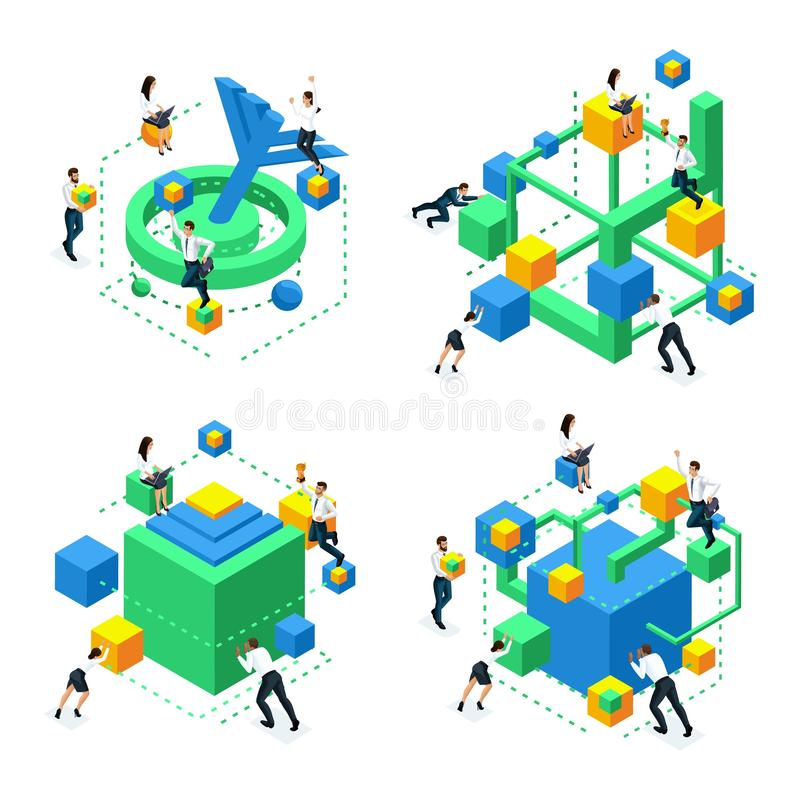 等量集合象脑子发展,创造神经系统的连接和改进脑子作用的概念 向量例证