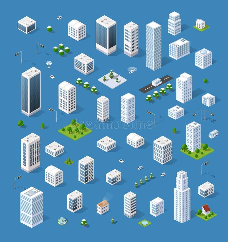 等量集合3D城市 库存例证