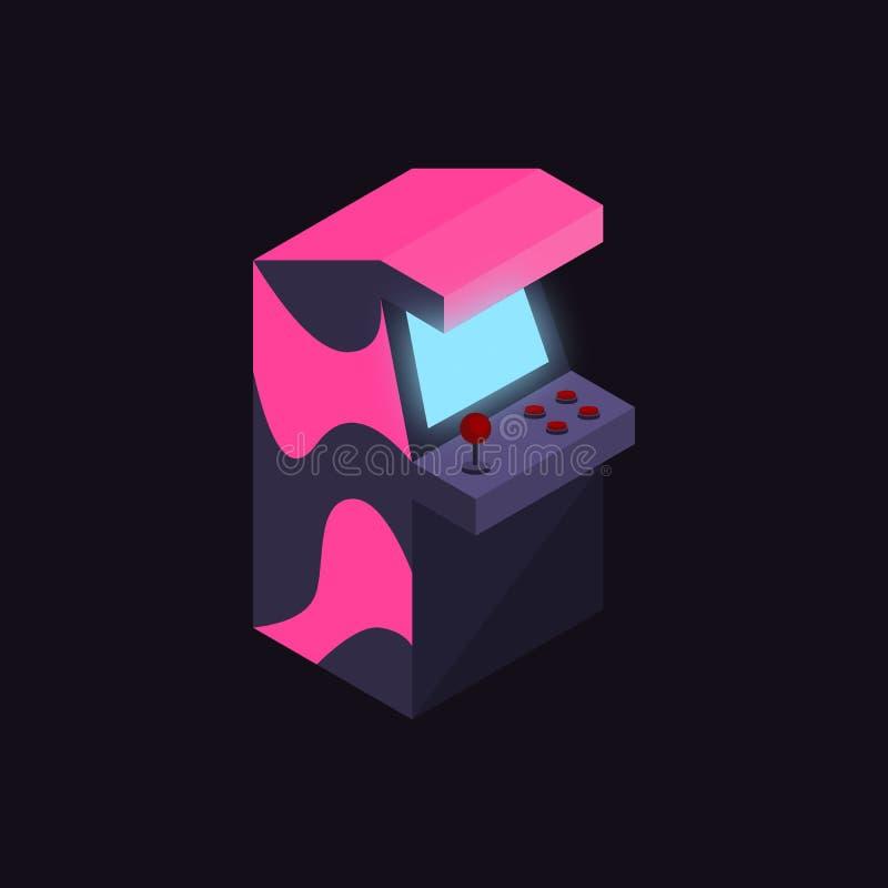 等量霓虹颜色20世纪80年代拱廊的机器说明传染媒介 库存例证