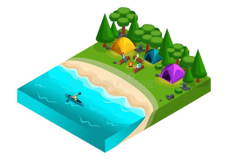 等量风景基于河,朋友在度假,新鲜空气,野餐,休息日,石头,海滩,帐篷,皮船,独木舟, frien 库存例证