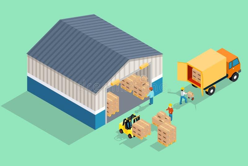 等量仓库 装载和卸载从 向量例证