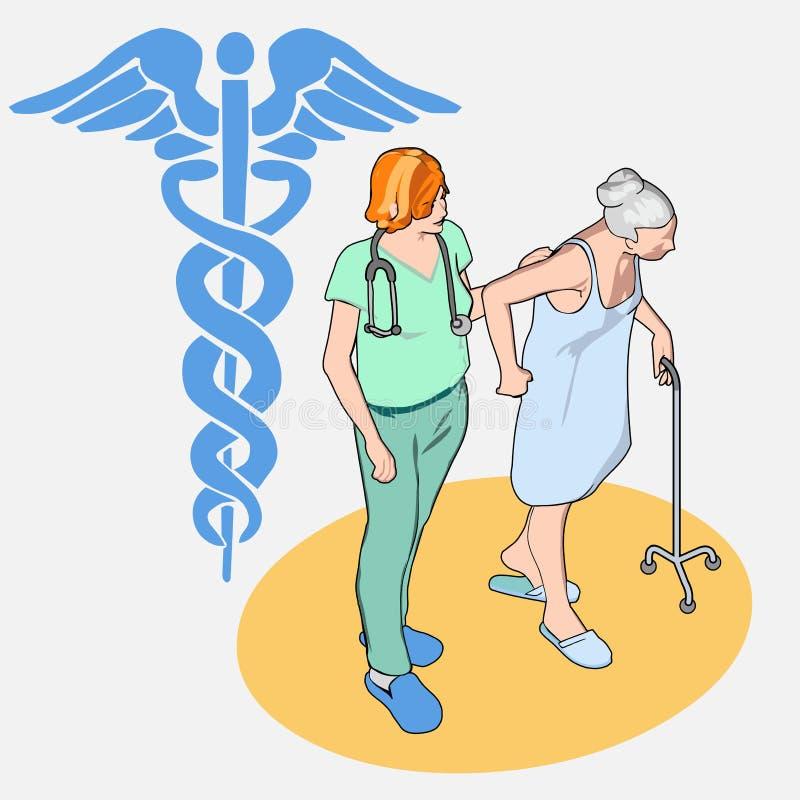 等量医疗保健人民被设置-资深患者和护士 皇族释放例证