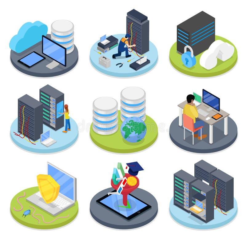 等量系统管理员 服务器室 数据存储 向量例证