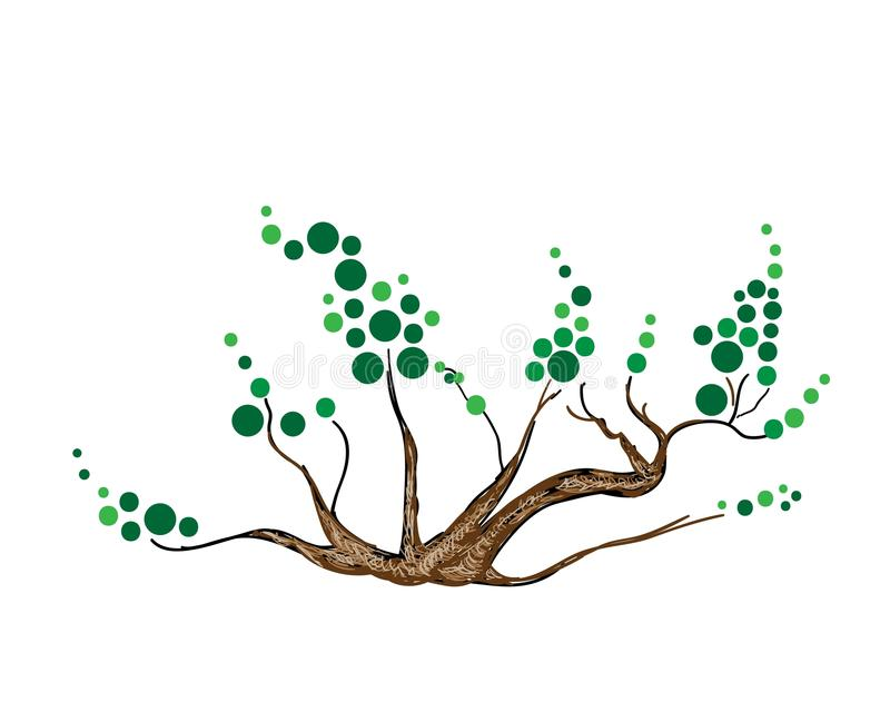 等量绿色树和植物摘要  向量例证