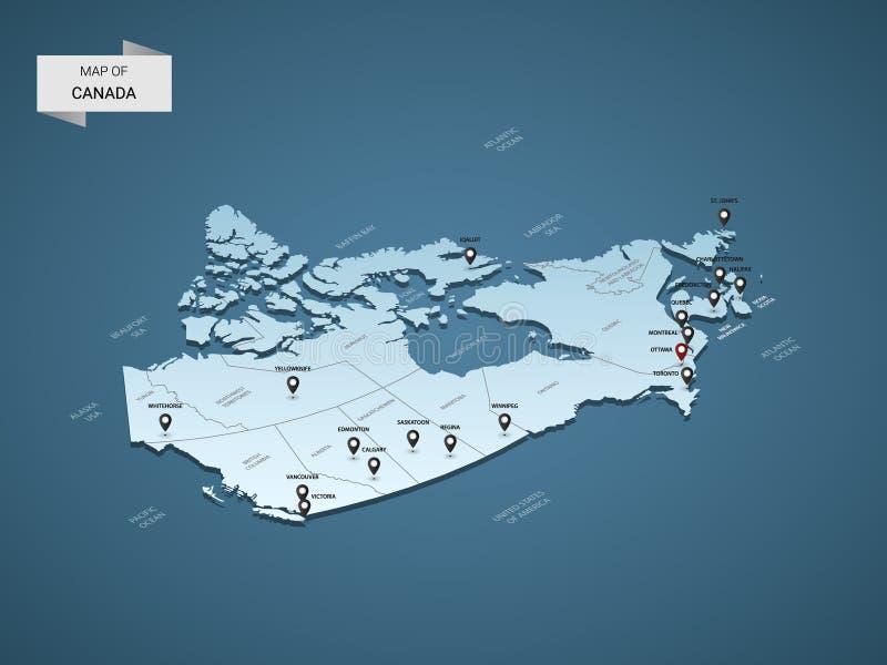 等量3D加拿大传染媒介地图概念 皇族释放例证