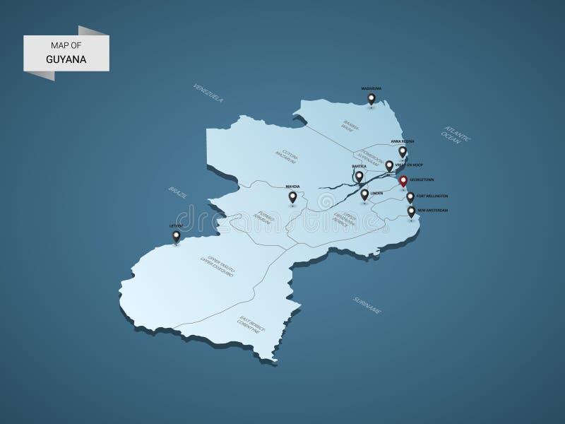 等量3D圭亚那传染媒介地图概念 向量例证