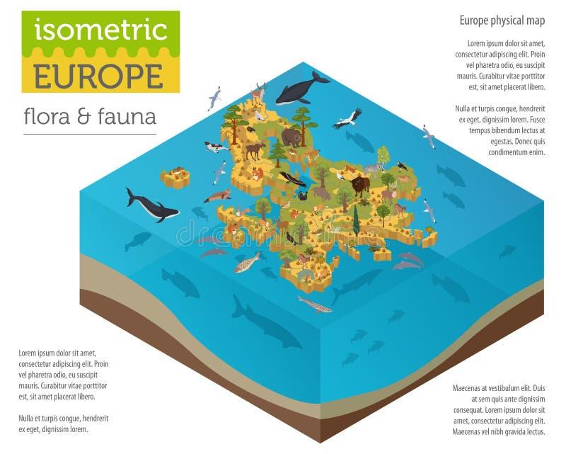 等量3d欧洲植物群和动物区系映射建设者元素 向量例证