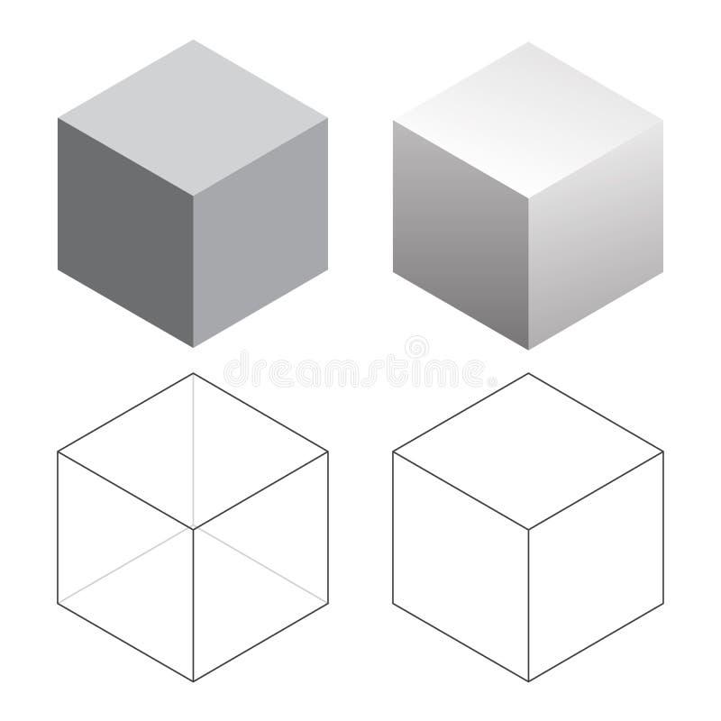 等量3D正方形求被隔绝的传染媒介例证的立方 皇族释放例证