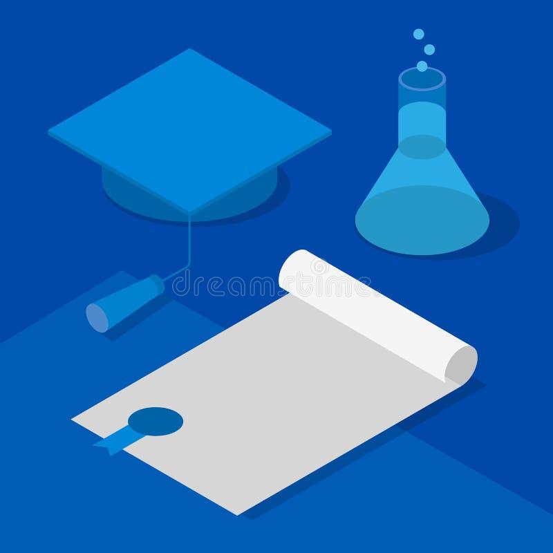 等量3D毕业盖帽、证明和烧瓶有液体的 库存例证