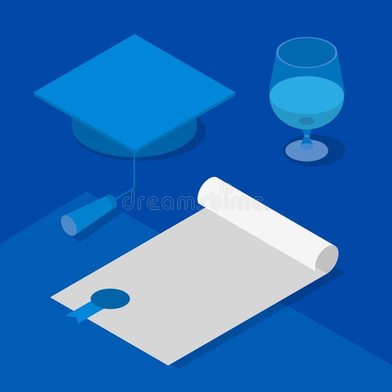 等量3D毕业盖帽、证明和葡萄酒杯 向量例证