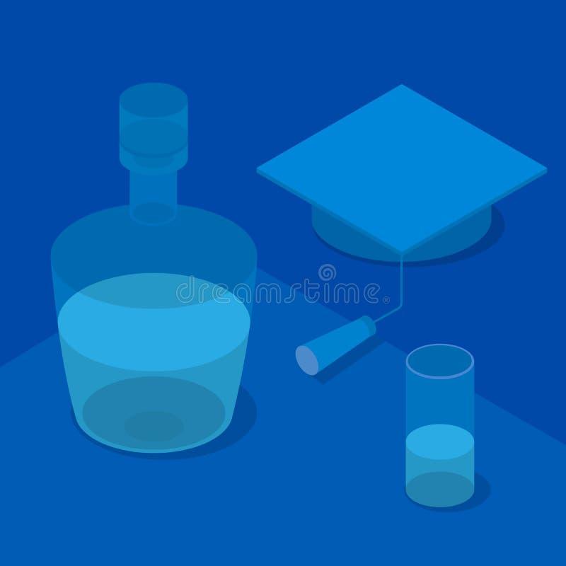 等量3d毕业盖帽、玻璃和瓶 皇族释放例证