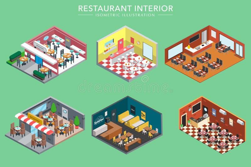 等量3d餐馆内部导航例证 向量例证