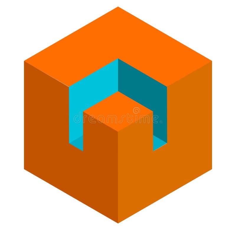 等量3d duotone概念性立方体象 st的几何立方体 向量例证