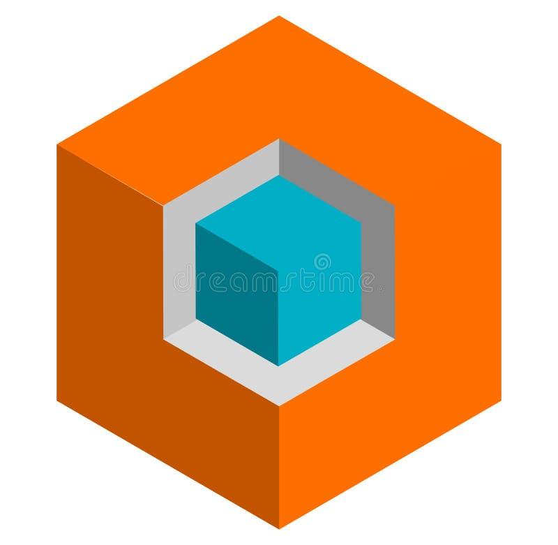 等量3d duotone概念性立方体象 st的几何立方体 库存例证