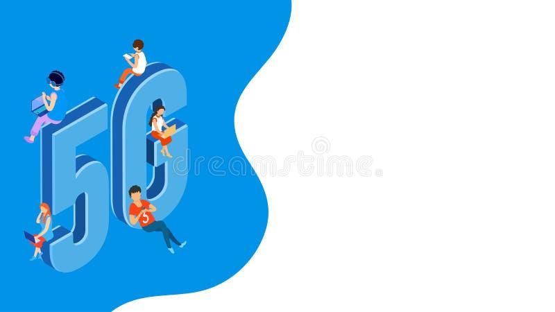 等量5G网络无线系统和互联网通讯网络与使用新的现代服务设备的用户的例证 向量例证