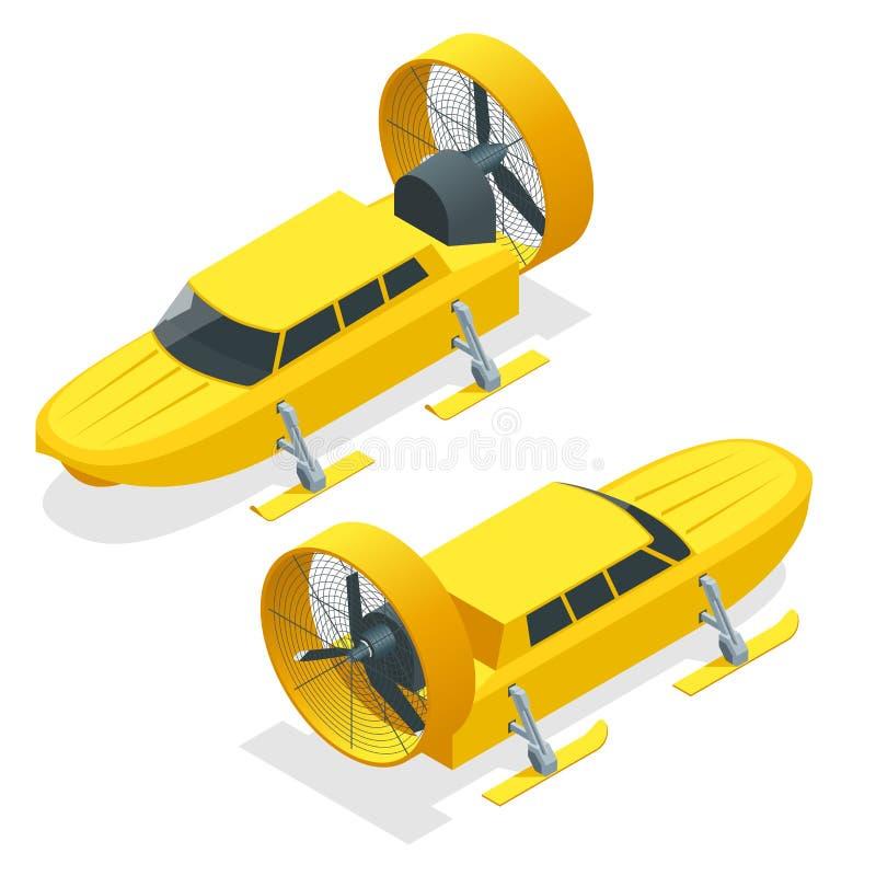等量Aerosani,推进器主导的雪上电车,跑在滑雪,用于通信,邮件交付,医疗援助 库存例证