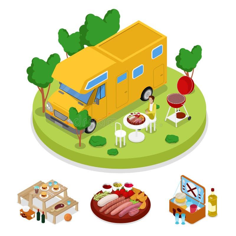 等量BBQ露营车野餐党 暑假阵营 烤肉 向量例证