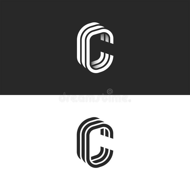 等量C信件商标大模型,现代时髦线性设计,黑白光滑的线CCC印刷术象征 皇族释放例证