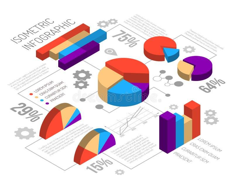 等量Circlular图表Infographics 库存例证