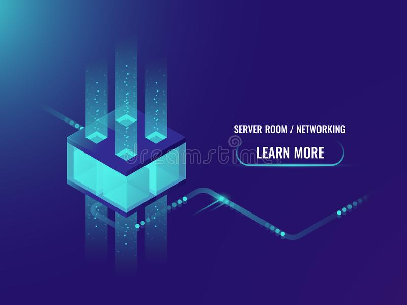 等量Cryptocurrency和Blockchain概念横幅,处理大数据,服务器室概念,情报中心 皇族释放例证