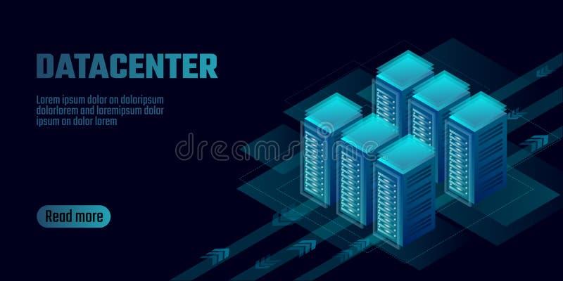 等量datacenter云彩计算的存贮概念横幅 主持大数据处理高额租金的站点 主框架 向量例证