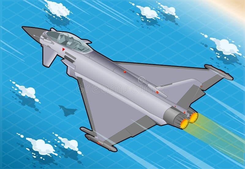 等量Eurofighter在飞行中在背面图 皇族释放例证