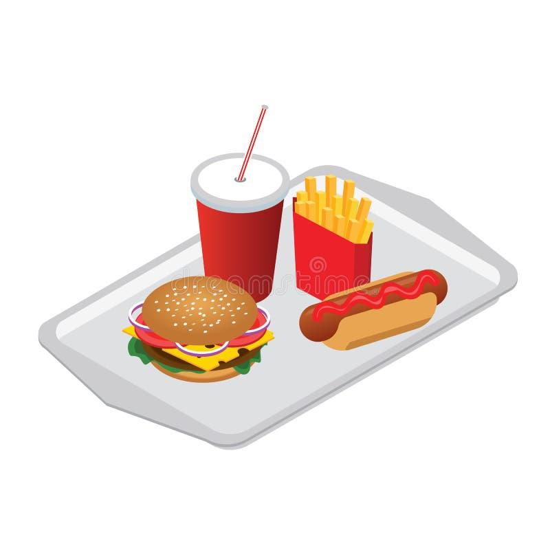 等量hamburguer,与焦炭苏打的热狗用在侍者盘子的秸杆炸薯条 快餐 design illustration space 库存例证