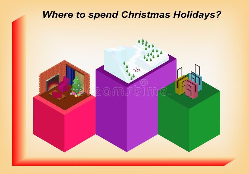 以等量infographic的形式圣诞节假日 向量例证