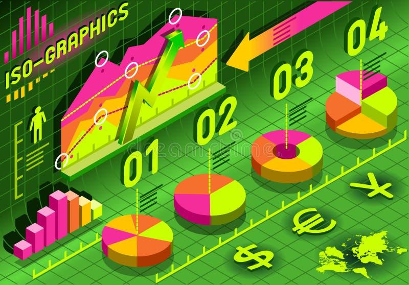 等量Infographic直方图集合要素以多种颜色 向量例证