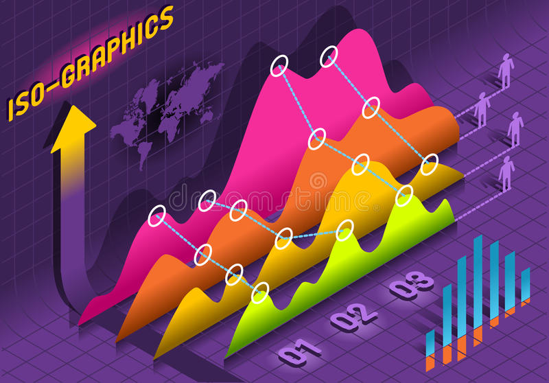 等量Infographic直方图集合要素   库存例证
