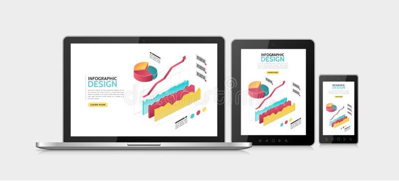 等量Infographic能适应的设计模板 向量例证