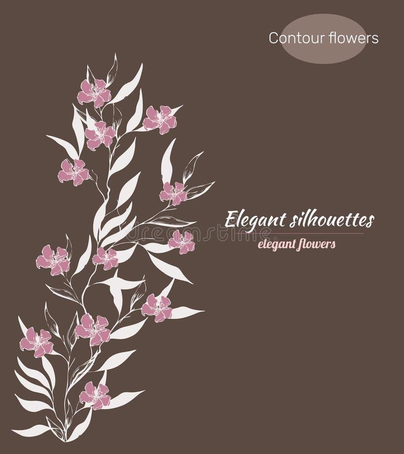 等高传染媒介花 分支剪影与墨水画的花的 单色花卉样式 等高Clipart用于设计 向量例证
