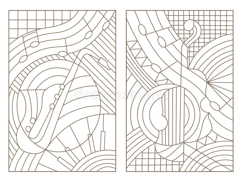 等高套与例证的彩色玻璃在音乐摘要小提琴和萨克斯管题材  库存例证